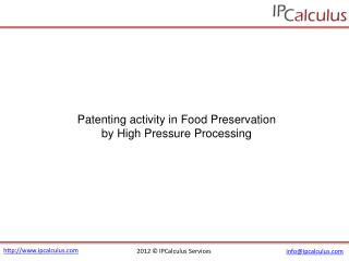 IPCalculus - Food Preservation by High Pressure Processing