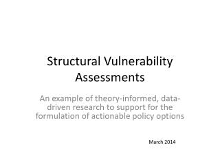 Structural Vulnerability  Assessments