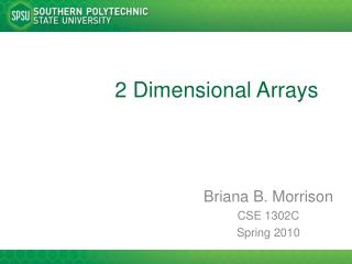 2 Dimensional Arrays