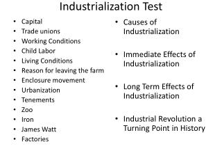 Industrialization Test