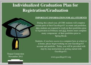 Individualized Graduation Plan for Registration/Graduation