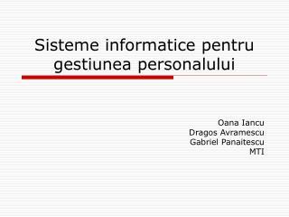 Sisteme informatice pentru gestiunea personalului