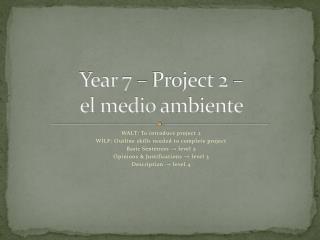 Year 7 – Project 2 –  el  medio ambiente