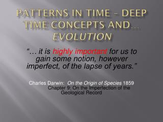 Patterns in Time – Deep Time Concepts and…  Evolution