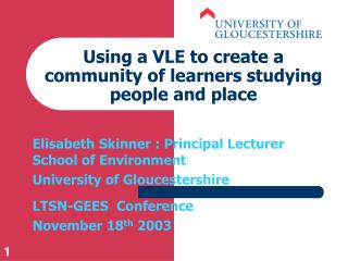 Using a VLE to create a community of learners studying people and place