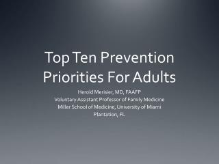 Top Ten Prevention Priorities For Adults