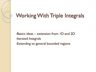 Working With Triple Integrals