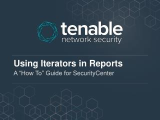 Using Iterators in Reports