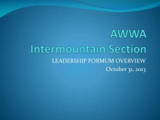 AWWA  Intermountain Section