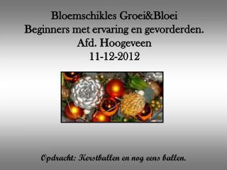 Bloemschikles Groei&Bloei Beginners met ervaring en gevorderden. Afd. Hoogeveen 11-12-2012