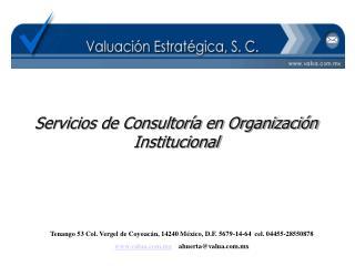 Servicios de Consultoría en Organización Institucional