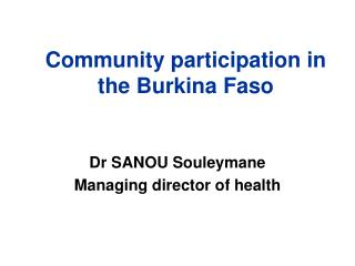 Community participation in the Burkina Faso