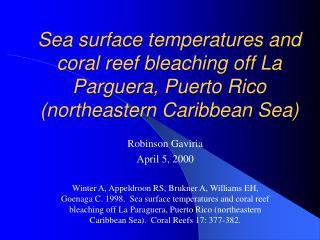Sea surface temperatures and coral reef bleaching off La Parguera, Puerto Rico northeastern Caribbean Sea