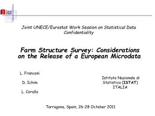 Joint UNECE/Eurostat Work Session on Statistical Data Confidentiality