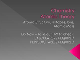 Chemistry Atomic Theory