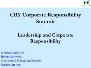 Leadership and Corporate Responsibility