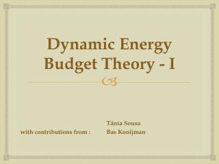 Dynamic Energy  Budget  Theory  - I