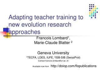 Adapting teacher training to new evolution research approaches