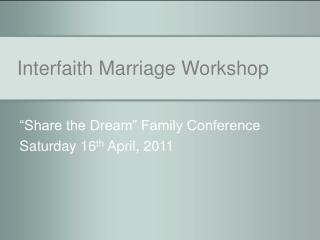 Interfaith Marriage Workshop