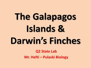 The Galapagos Islands & Darwin's Finches