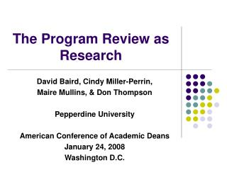 The Program Review as Research