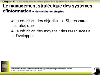 Le management stratégique des systèmes d'information -  Sommaire du chapitre