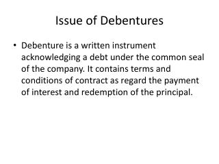 Issue of Debentures