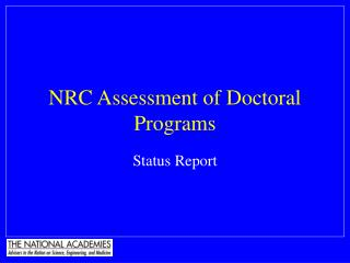 NRC Assessment of Doctoral Programs