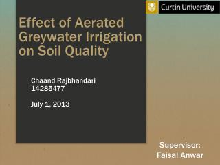 Effect of Aerated  Greywater Irrigation  on Soil Quality