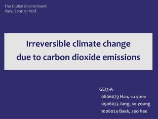 Irreversible climate change  due to carbon dioxide emissions