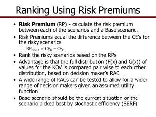 Ranking Using Risk Premiums