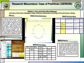 Research Misconduct: Case of  Poehlman  (GERESE)