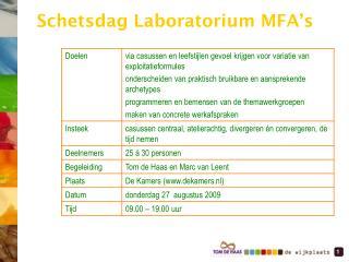 Schetsdag Laboratorium MFA's