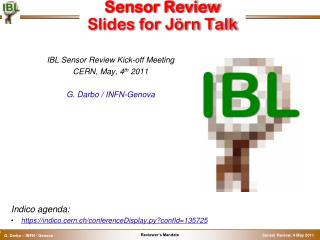 Sensor Review Slides for  Jörn  Talk