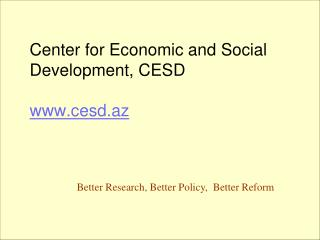 Center for Economic and Social Development, CESD cesd.az