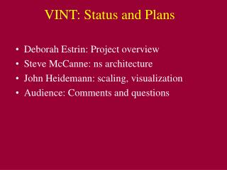 VINT: Status and Plans