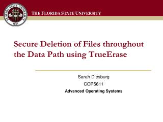 Secure Deletion of Files throughout the Data Path using  TrueErase