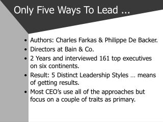 Only Five Ways To Lead ...