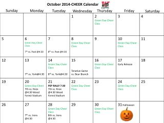 October 2014-CHEER Calendar
