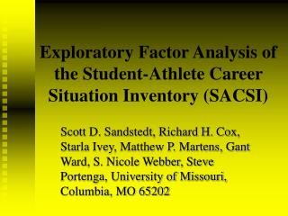 Exploratory Factor Analysis of the Student-Athlete Career Situation Inventory (SACSI)