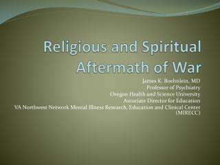 Religious and Spiritual Aftermath of War