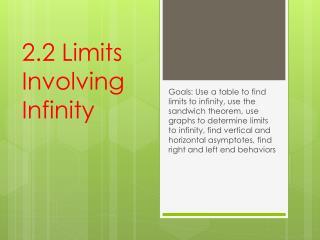 2.2 Limits Involving Infinity
