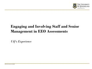 Engaging and Involving Staff and Senior Management in EEO Assessments