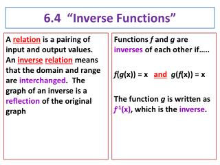6.4  �Inverse Functions�