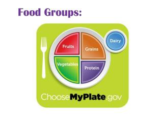 The nutrients we need in our daily diet are found in the 5 food groups.