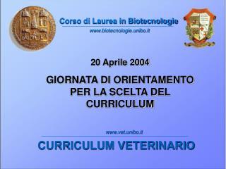 Corso di Laurea in Biotecnologie