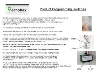 Product Programming Switches