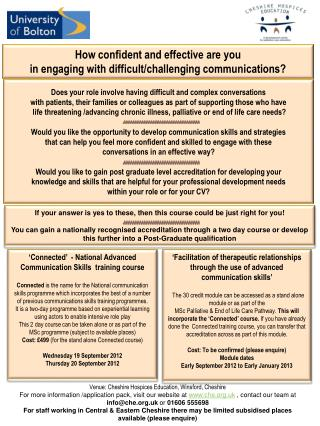 'Facilitation of therapeutic relationships through the use of advanced communication skills'