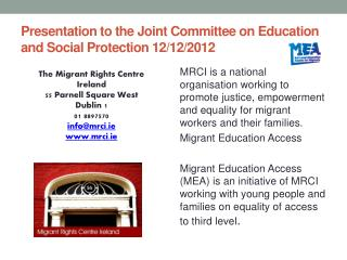Presentation to the Joint Committee on Education and Social Protection 12/12/2012