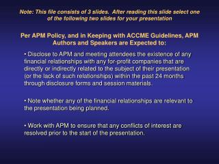 APM 57th Annual Meeting Disclosure: Joseph Smith, MD
